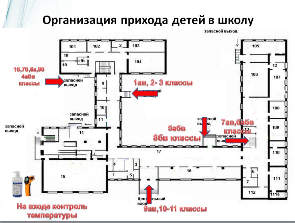 Схема захода в школу